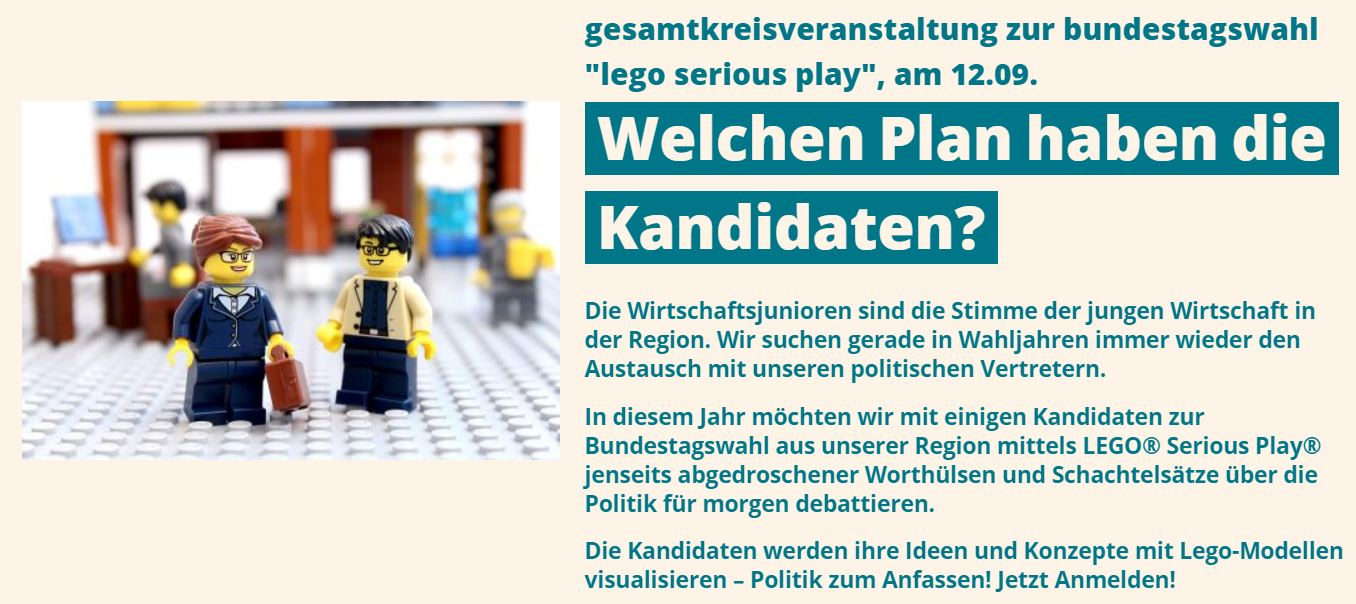 Einladung Die Kandidaten zur Bundestagswahl 2017 - Eine konstruktive Diskussion mit Lego Serious PlayWiJuMA-LSP2017