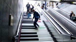 Nudging Piano Stairs