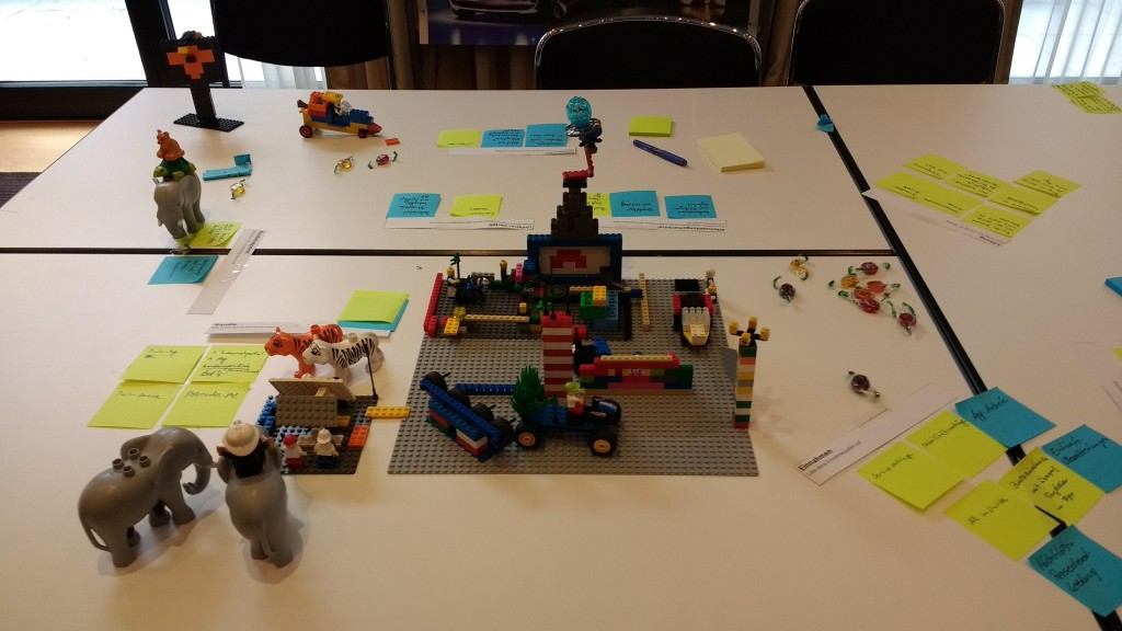 Lego Serious Play. Ergebnisdokumentation mit Post-Its.